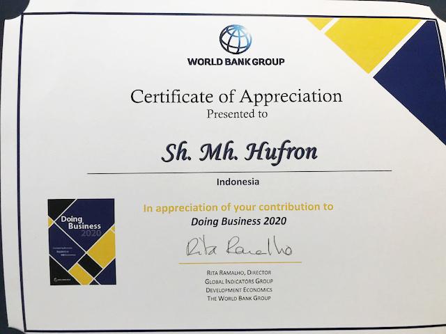 Apresiasi dari World Bank Group karena berkontribusi memberikan pendapat tentang Doing Business 2020.